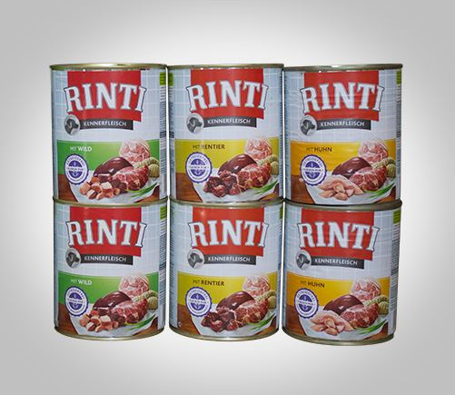 Rinti premium canned food for adult dogs.