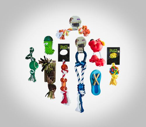 A large selection of toys for pets.