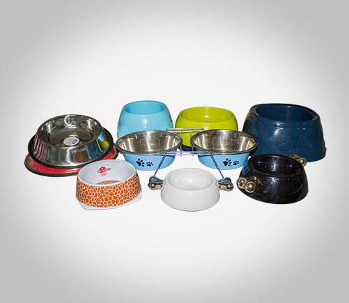Food and water bowls for dogs and cats.